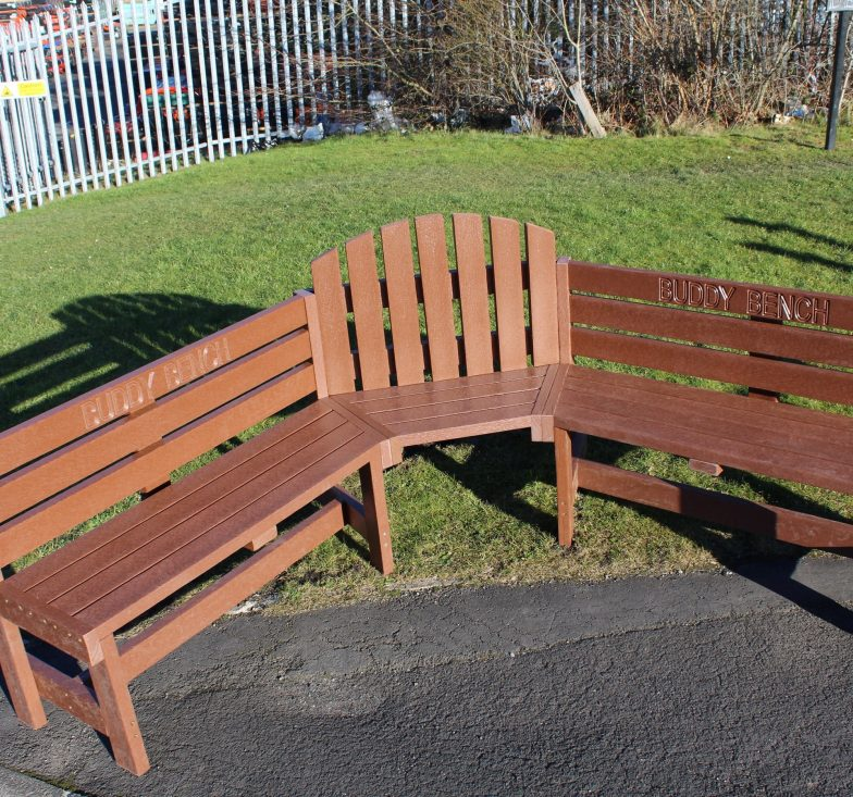 Brown buddy bench