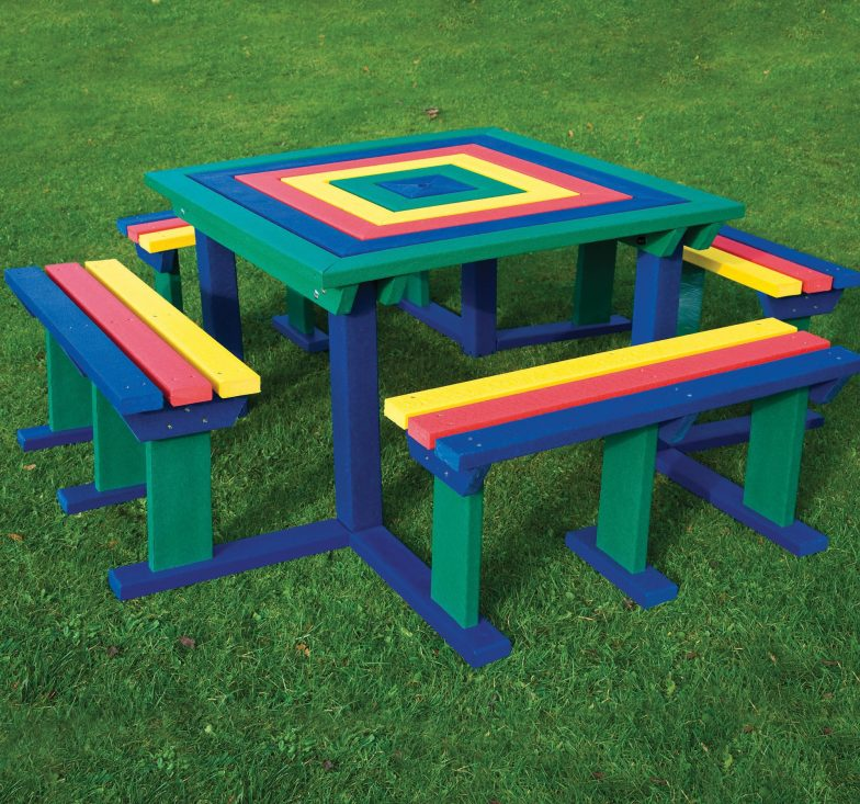 Rainbow octobrunch table and benches