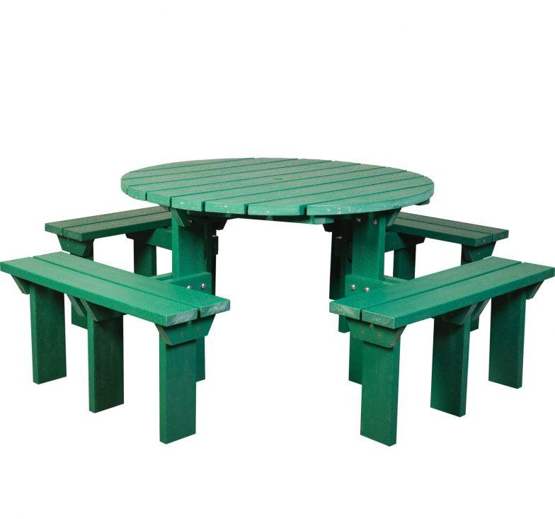 Green olympic picnic bench