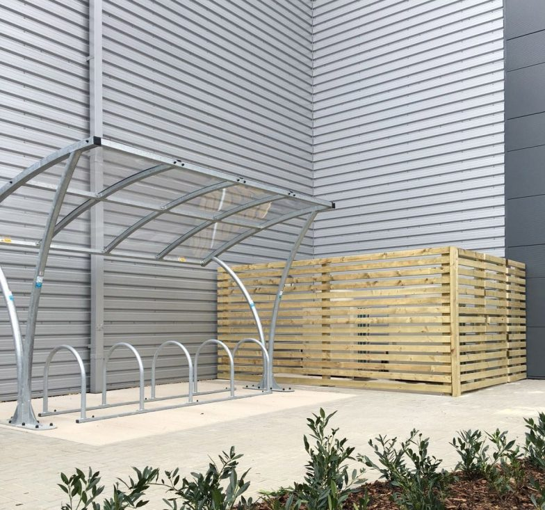 Metal bike shelter with toast rack