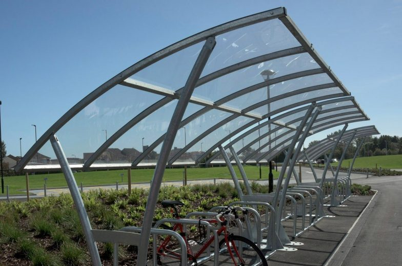 close up of office bike shelter and toast rack