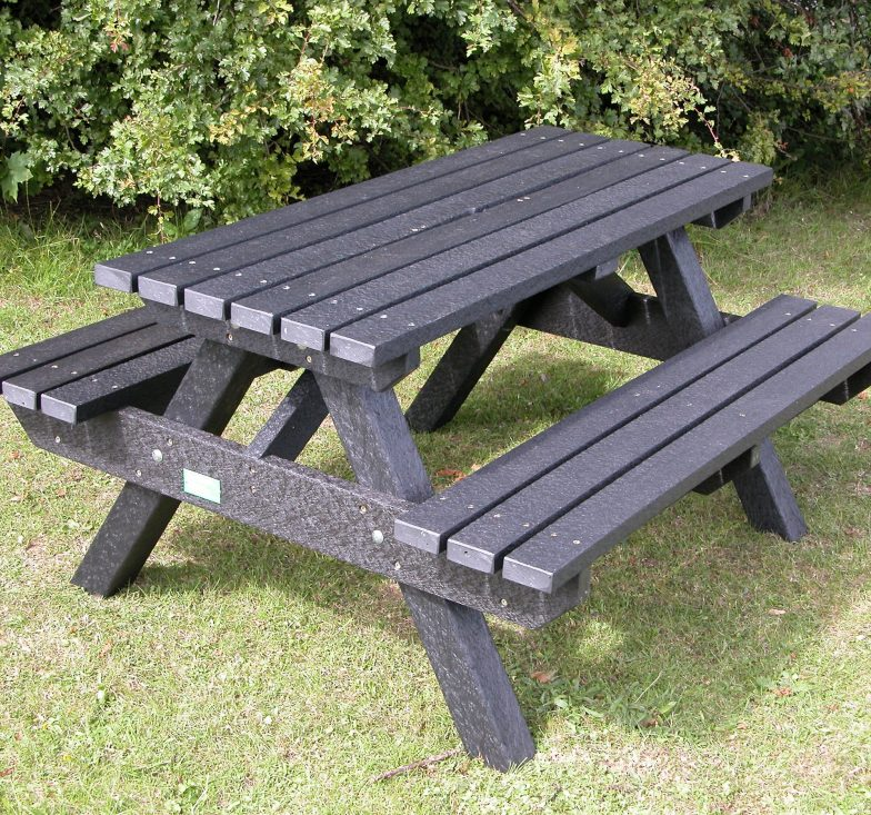Black heavy duty picnic bench