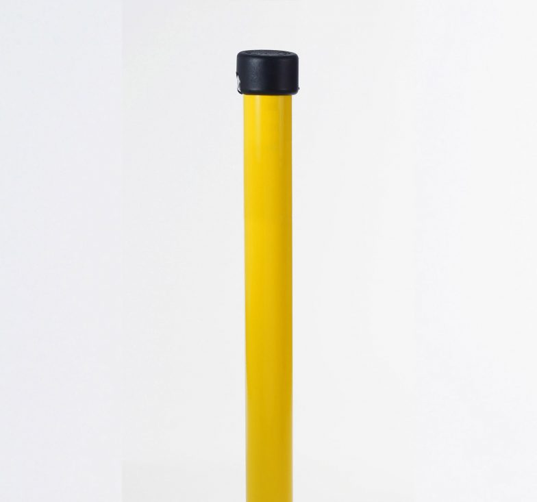 Yellow galvanised hinged parking posts