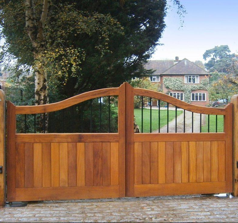 Iroko wooden gates