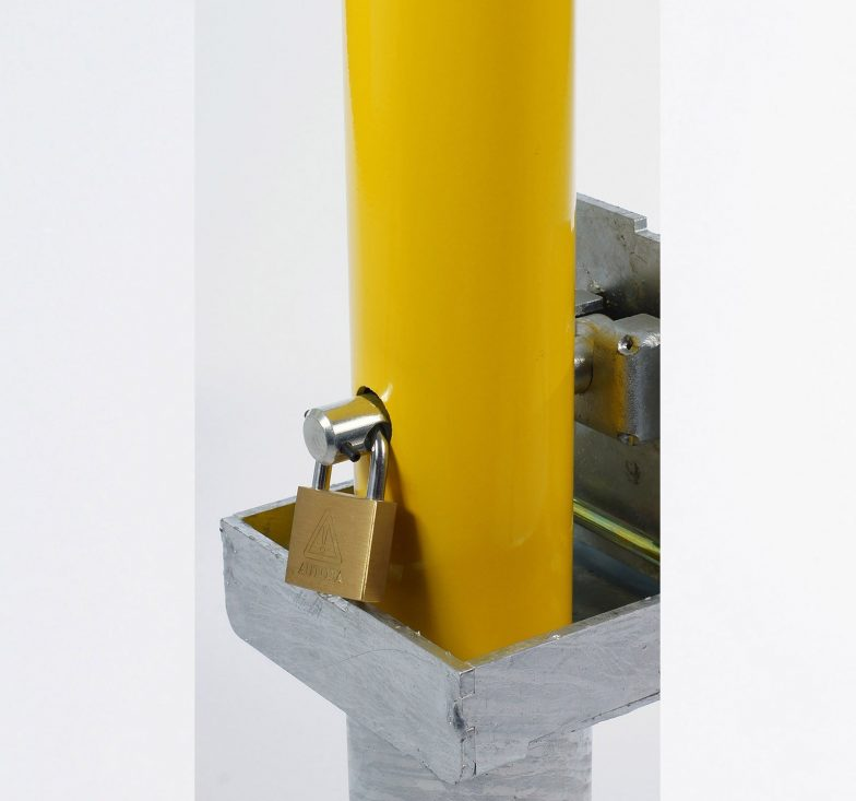 Yellow galvanised removable parking posts