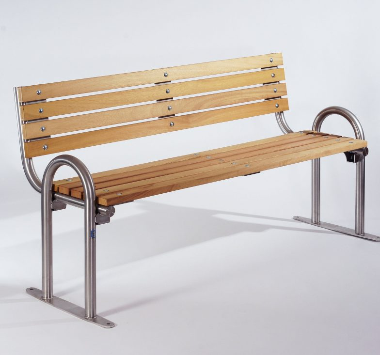 Stainless and wood seating