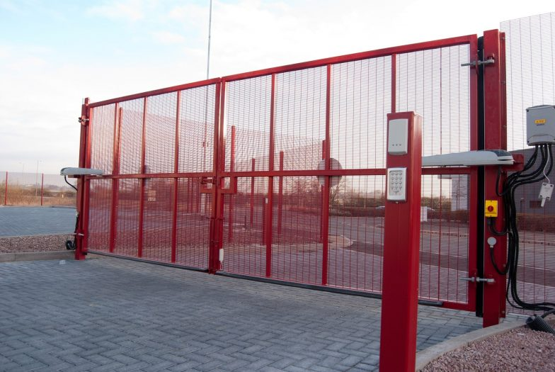 Red mesh swing gates