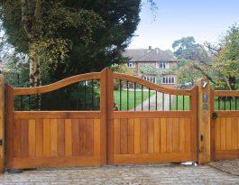 Iroko swing gates