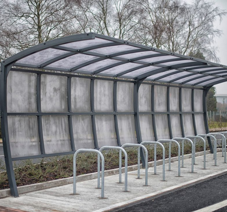 overhang bicycle shelter with black powder coasting frame